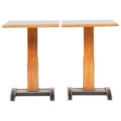 Pair of Viennese Brass-Mounted Ebonized Fruitwood Side Tables