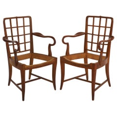 Pair of Viennese Modern Sculpted Cherry Antique Armchairs, Austria
