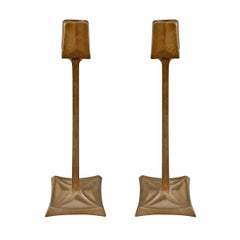 Pair of Viennese Secession Bronze Candlesticks