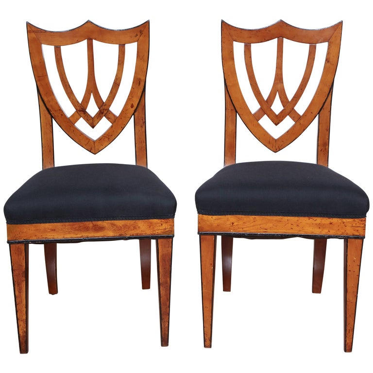 Pair of Viennese Side Chairs, circa 1830 For Sale