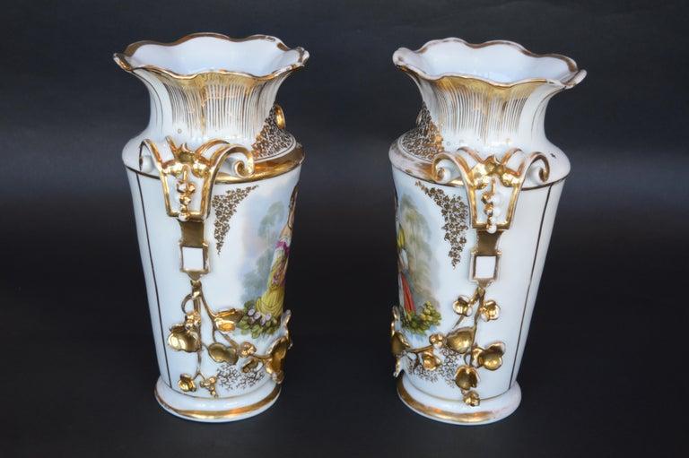 19th Century Pair of Vieux Paris Gilt Porcelain Vases For Sale