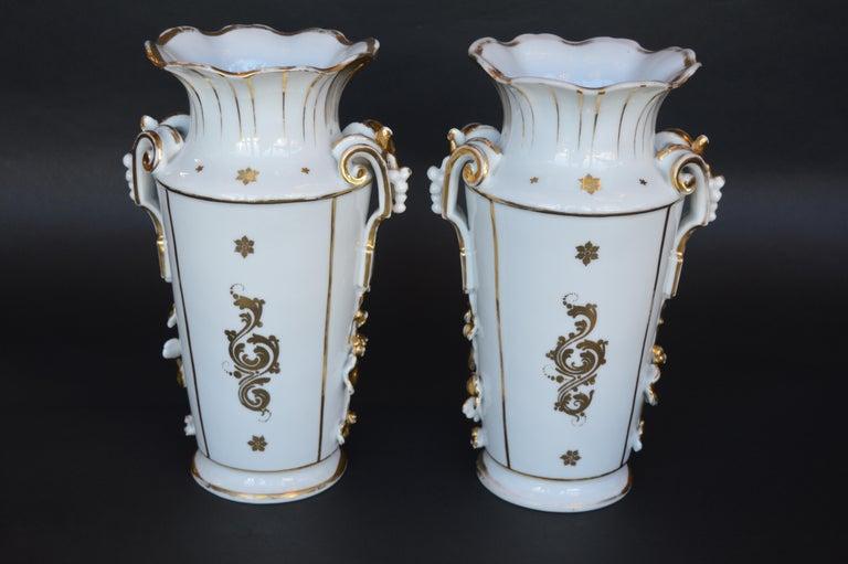 Ceramic Pair of Vieux Paris Gilt Porcelain Vases For Sale