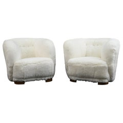 Pair of Viggo Boesen Style Lounge or Club Chairs in Lambswool, Danish, 1940s