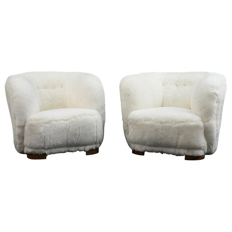 Pair of Viggo Boesen Style Lounge or Club Chairs in Lambswool, Danish, 1940s For Sale