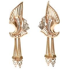Pair of Vintage 18 Karat Rose Gold and Diamond Retro Dangle Pierced Earrings