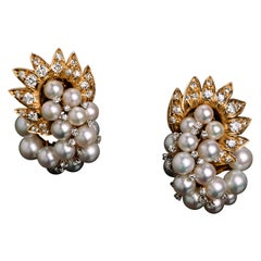 Pair of Vintage 18K Gold, Diamond and Cultured Pearl Ear Clips by David Webb