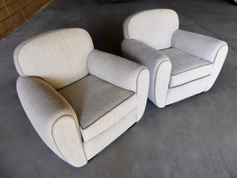 Pair of Vintage 1930s French Art Moderne Club Chairs In Excellent Condition For Sale In Palm Springs, CA