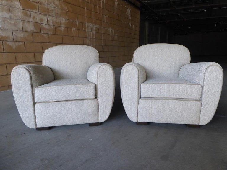 Mid-20th Century Pair of Vintage 1930s French Art Moderne Club Chairs For Sale