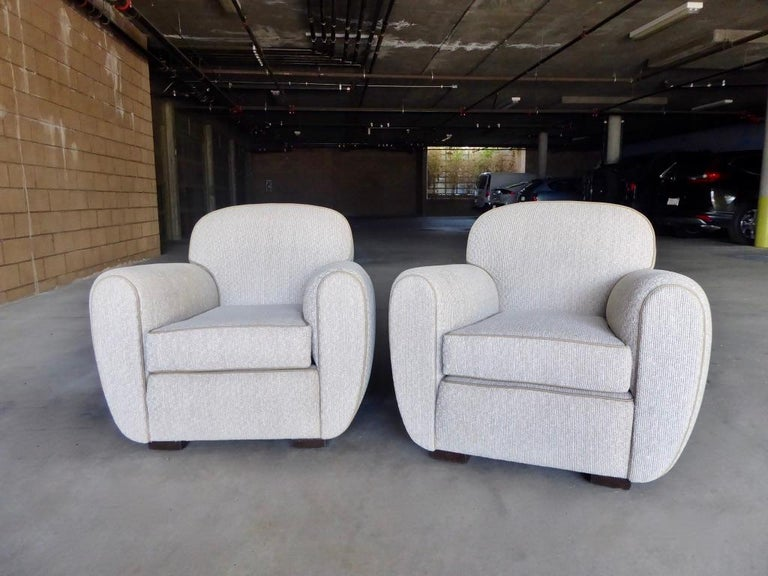 Fabric Pair of Vintage 1930s French Art Moderne Club Chairs For Sale