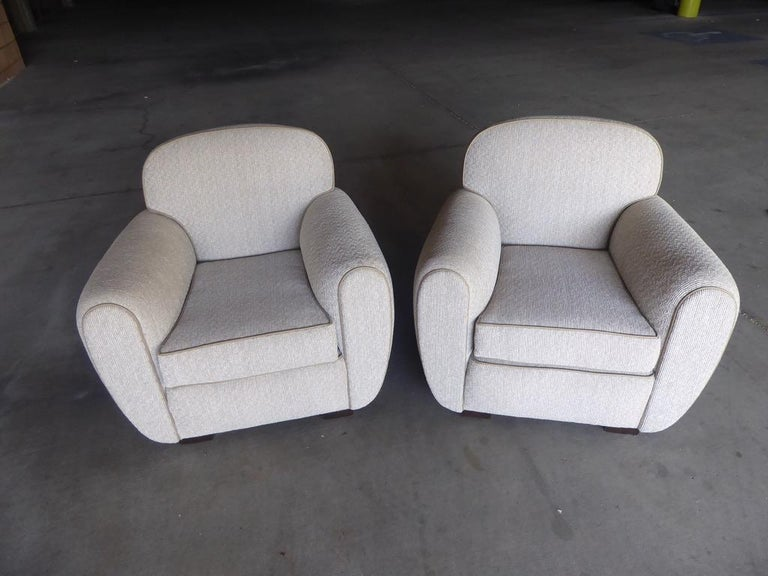 Pair of Vintage 1930s French Art Moderne Club Chairs For Sale 1