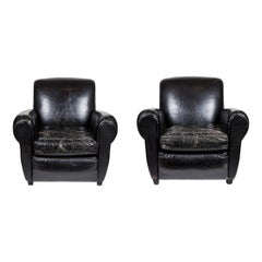Pair of Vintage 1940's Black Leather Club Chairs