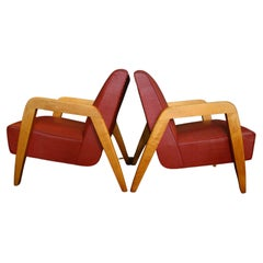 Pair of Vintage 1940s Lounge Chairs by Leslie Diamond for Conant-Ball USA