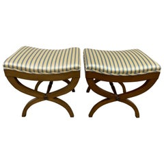 Pair of Vintage 1940s Mahogany and Silk Curule Benches