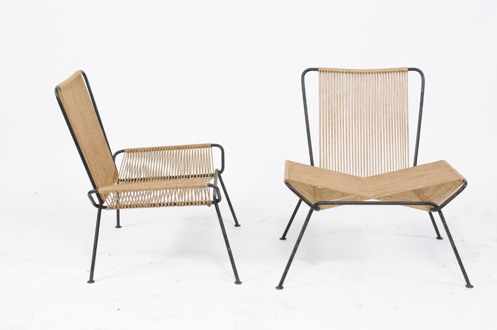 Antiques Pair Allan Gould String Side Chairs Iron Woven Cord Mid Century Modern Vintage At All Costs Antiques