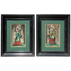 Pair of Vintage 1950s Chinoiserie Figure Original Paintings Signed Ling