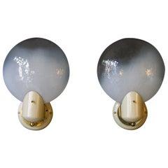 Pair of Vintage 1950s Italian Circular Murano Glass Sconces by Gino Vistosi