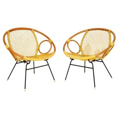 Pair of Vintage 1960s Bamboo Tub Armchairs