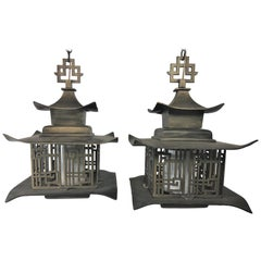 Pair of Vintage 1960s Chinese Pagoda Lantern Chandeliers