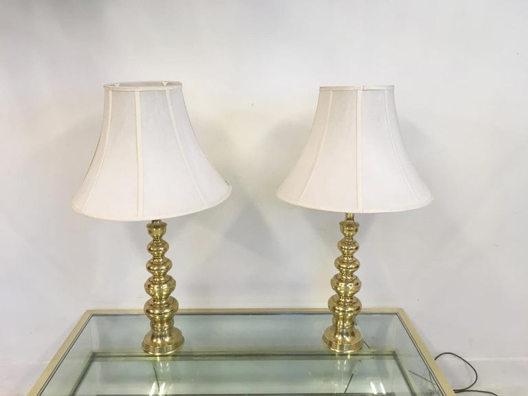 Pair of Vintage 1970s Brass Table Lamps For Sale 3