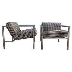 Pair of Vintage 1970s Chrome Chairs in Houndstooth