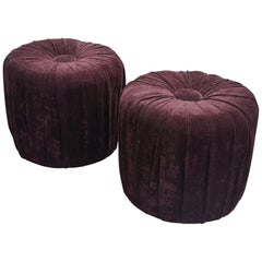Pair of Vintage 1970s Upholstered Puffs