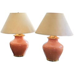Pair of Vintage 1980s Coral and Gold Ceramic Lamps with Brass Trim