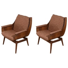 Pair of Vintage 20th Century Formed Wood Armchairs
