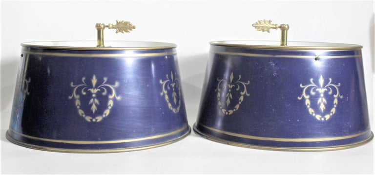 Pair of Vintage 3 Arm Cast Brass Toleware Bouillotte Lamps with Dark Blue Shades For Sale 6