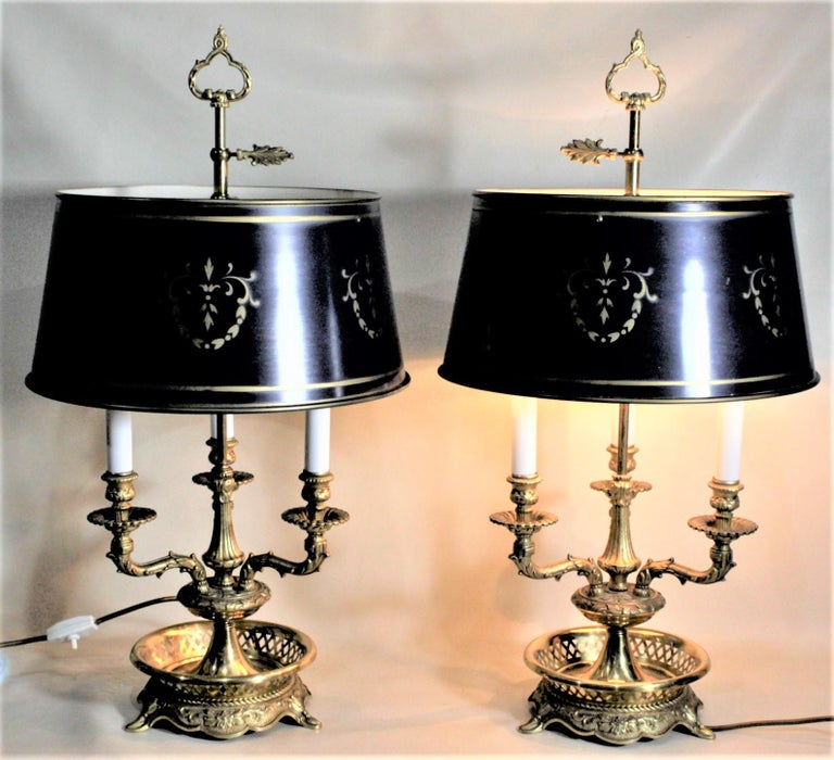French Provincial Pair of Vintage 3 Arm Cast Brass Toleware Bouillotte Lamps with Dark Blue Shades For Sale