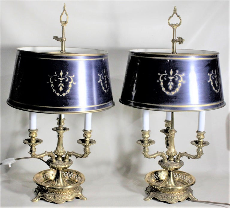 French Pair of Vintage 3 Arm Cast Brass Toleware Bouillotte Lamps with Dark Blue Shades For Sale