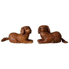 Pair of Vintage Abercrombie and Fitch Leather Dog Footstools by Dimitri Omersa