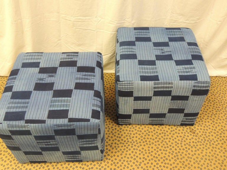 Tribal Pair of Vintage African Blue and Indigo Woven Textile Custom Square Ottomans For Sale