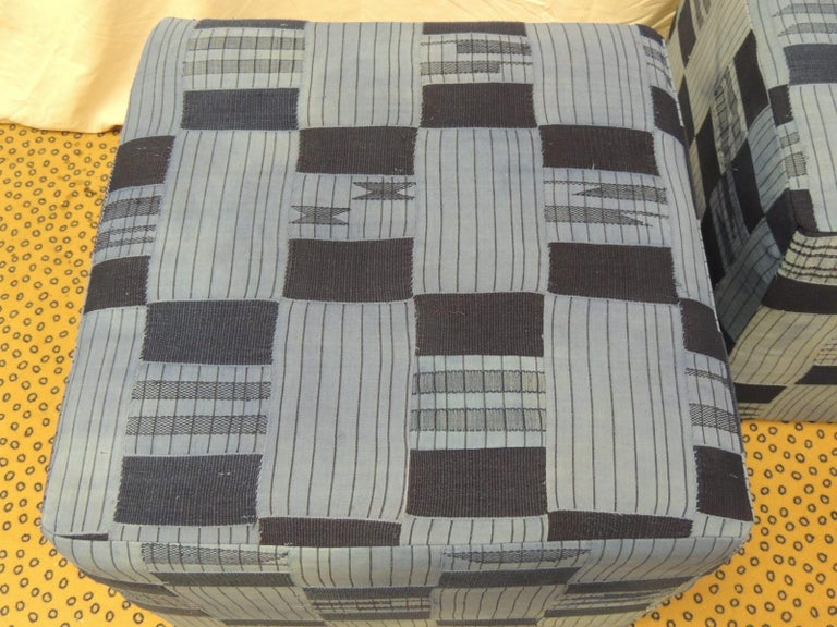 Hand-Crafted Pair of Vintage African Blue and Indigo Woven Textile Custom Square Ottomans For Sale
