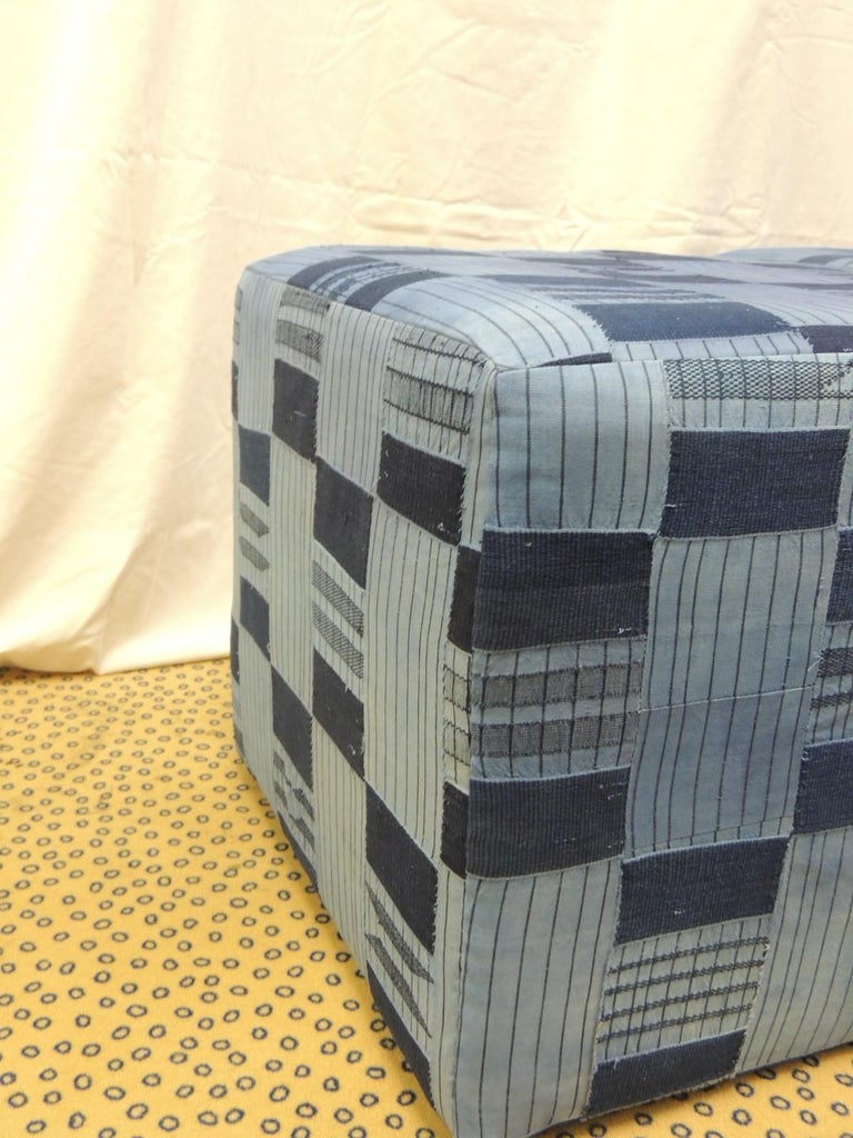 Pair of Vintage African Blue and Indigo Woven Textile Custom Square Ottomans In Good Condition For Sale In Fort Lauderdale, FL