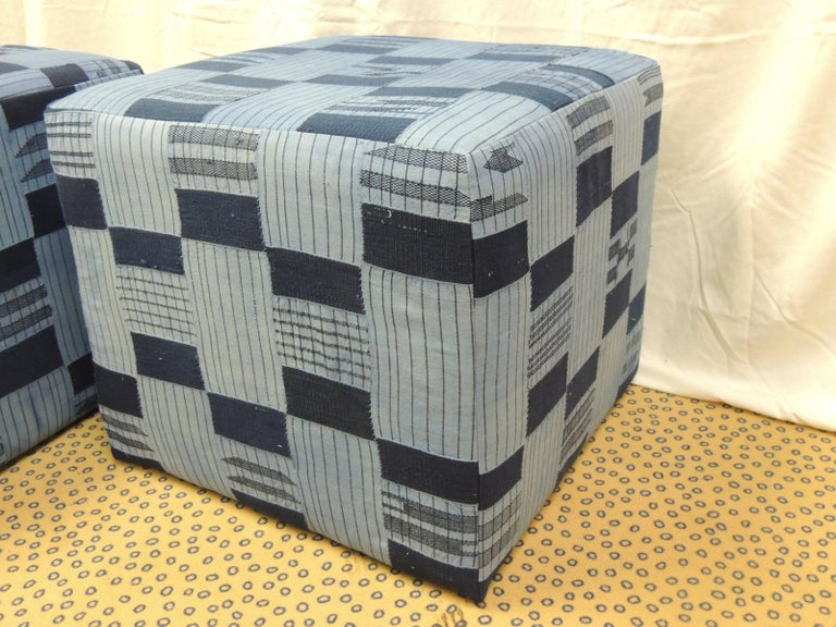 Late 20th Century Pair of Vintage African Blue and Indigo Woven Textile Custom Square Ottomans For Sale