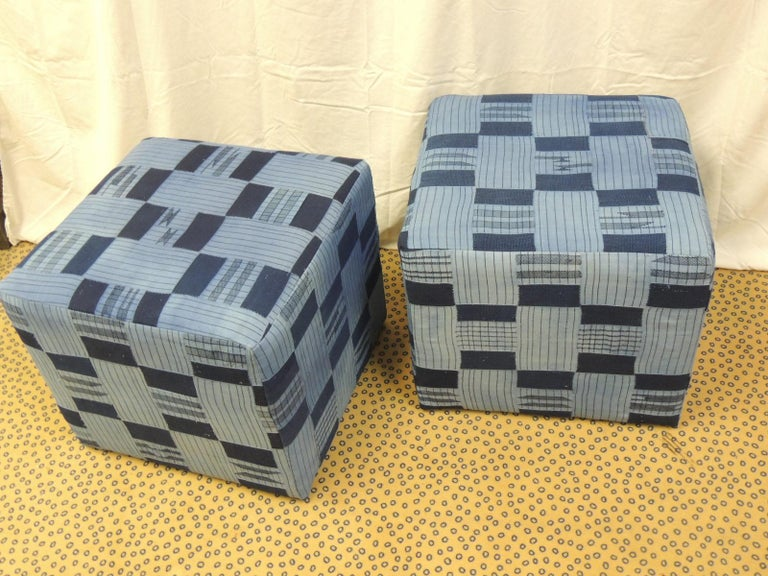 Pair of Vintage African Blue and Indigo Woven Textile Custom Square Ottomans For Sale 1