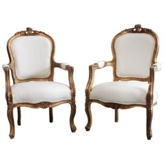 Pair of Vintage Aged Giltwood Louis XV Style Open Armchairs