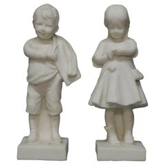 Pair of Vintage Alabaster Carved Italian Figures School Boy & Girl, 20th Century