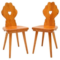 Pair of Vintage Alpine Side Chairs in Solid Elm
