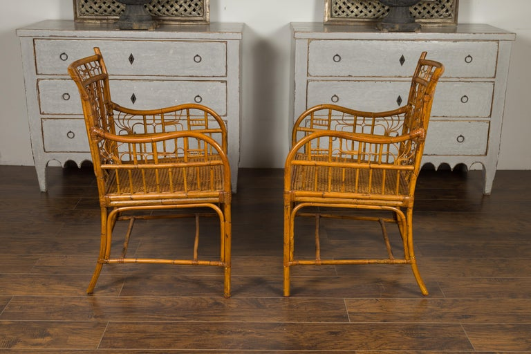 Pair of Vintage American Chinese Chippendale Style Armchairs from the Midcentury For Sale 5