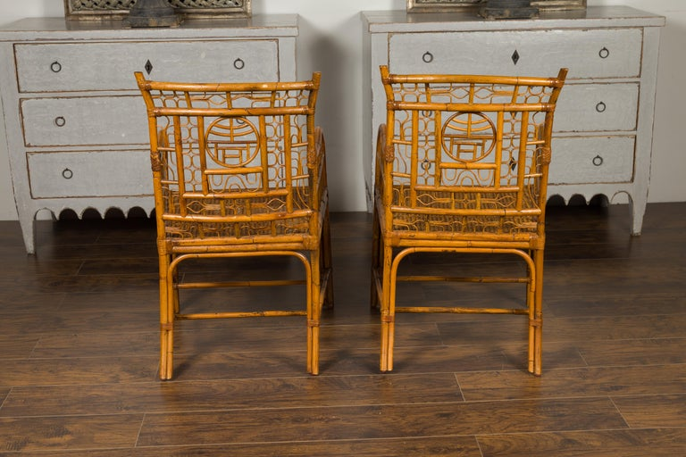 Pair of Vintage American Chinese Chippendale Style Armchairs from the Midcentury For Sale 6