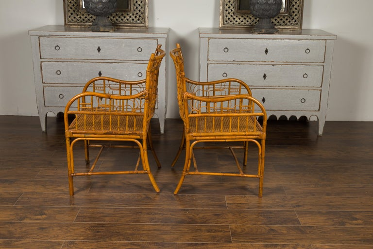 Pair of Vintage American Chinese Chippendale Style Armchairs from the Midcentury For Sale 7