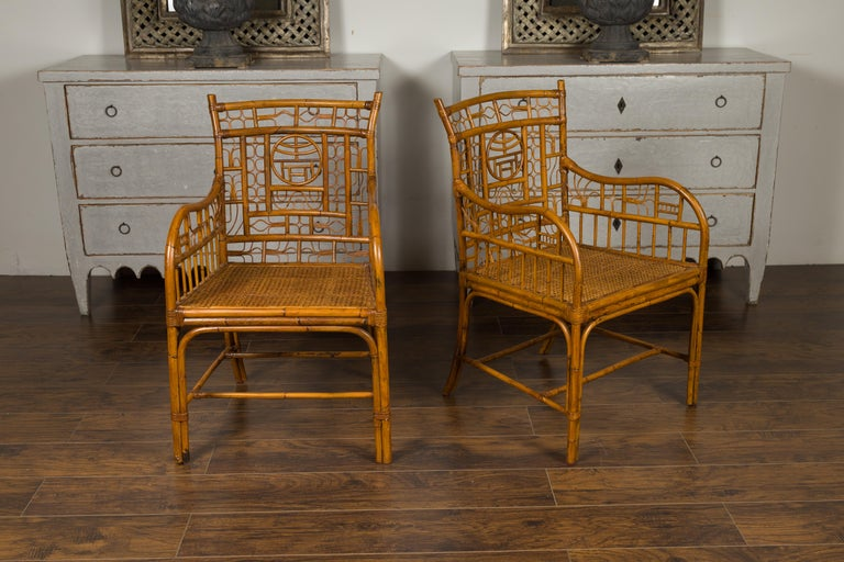 Pair of Vintage American Chinese Chippendale Style Armchairs from the Midcentury For Sale 8
