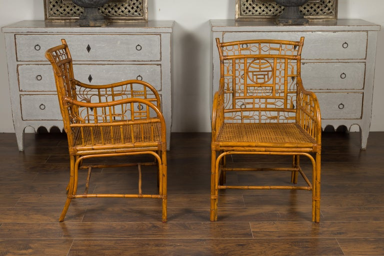 Mid-Century Modern Pair of Vintage American Chinese Chippendale Style Armchairs from the Midcentury For Sale