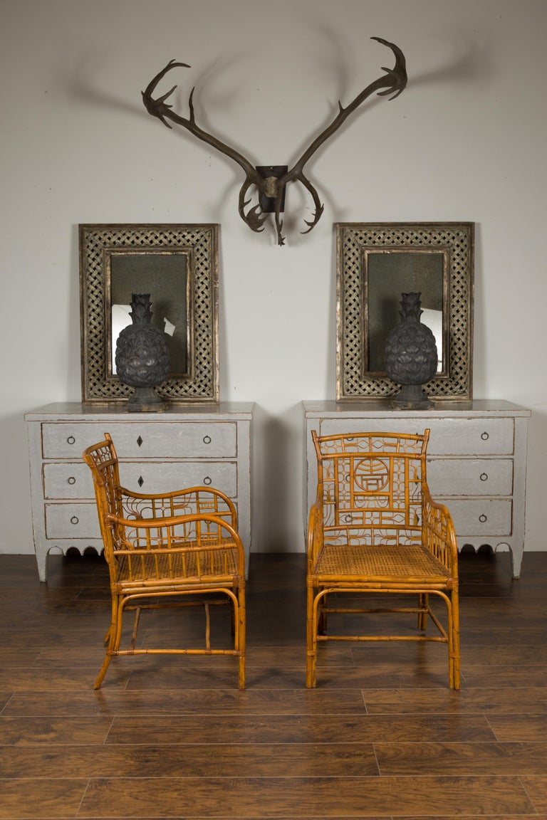Pair of Vintage American Chinese Chippendale Style Armchairs from the Midcentury For Sale 1