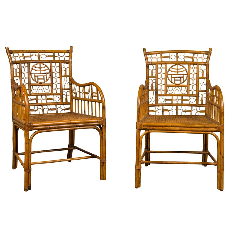 Pair of Vintage American Chinese Chippendale Style Armchairs from the Midcentury For Sale