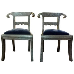 Pair of Vintage Anglo-Indian Silver Clad Dowry Wedding Chairs with Ram's Heads