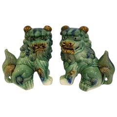 Pair of Vintage/Antique Chinese Porcelain Glazed Foo Dogs Temple Guardians