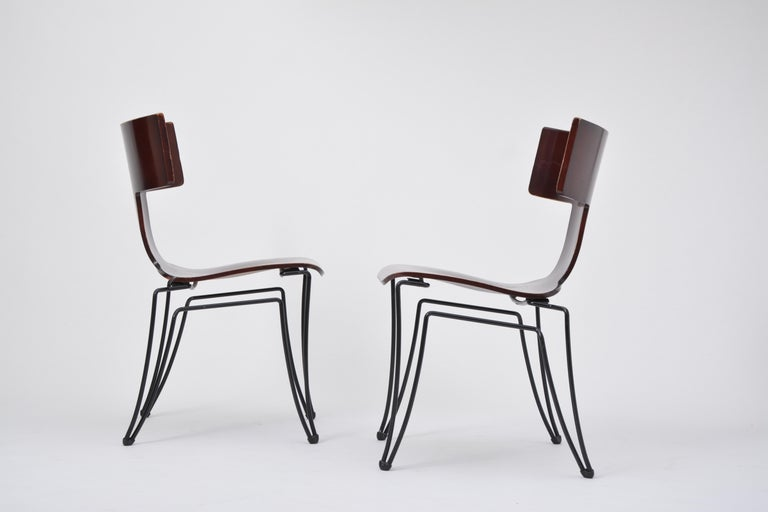 Post-Modern Pair of Vintage Anziano Dining Chairs by John Hutton for Donghia For Sale