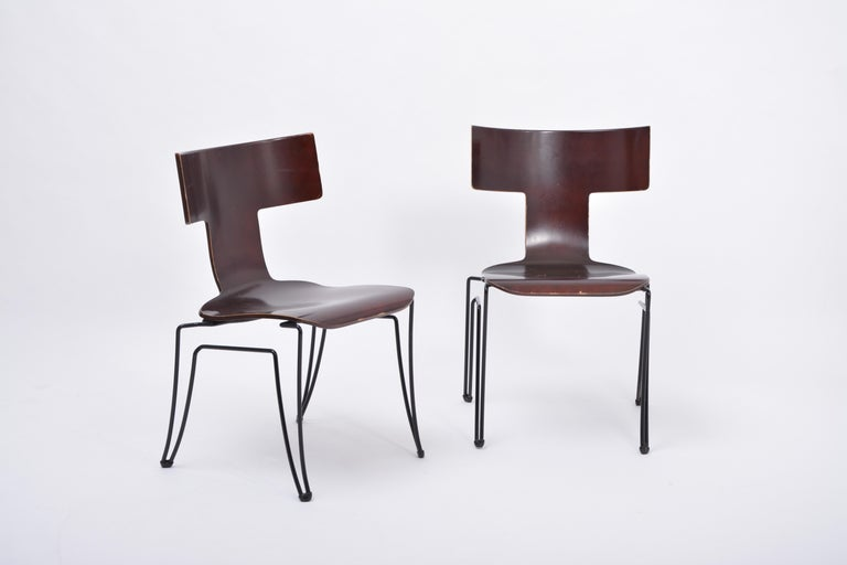 Pair of Vintage Anziano Dining Chairs by John Hutton for Donghia In Good Condition For Sale In Berlin, DE